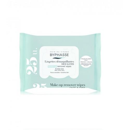 Πανάκια Ντεμακιγιάζ - Byphasse Make-up remover wipes aloe vera sensitive skin 40τεμ