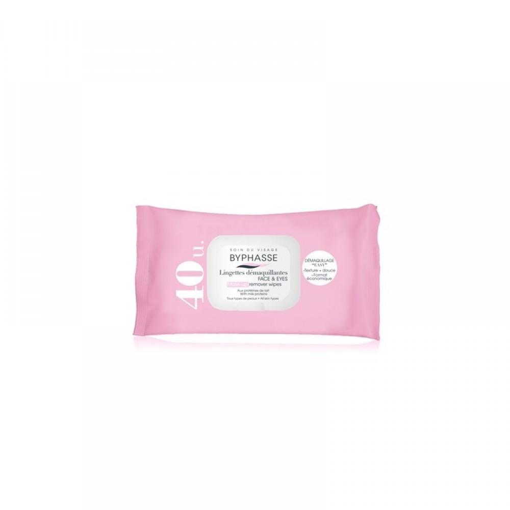 Πανάκια Ντεμακιγιάζ - Byphasse Make-up remover wipes για όλους τους τύπους δέρματος 40τεμ