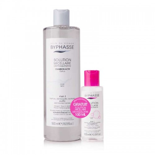 BYPHASSE PROMO PACK MICELLAR WATER CHARBON 500ML AND  MICELLAR WATER 100ML