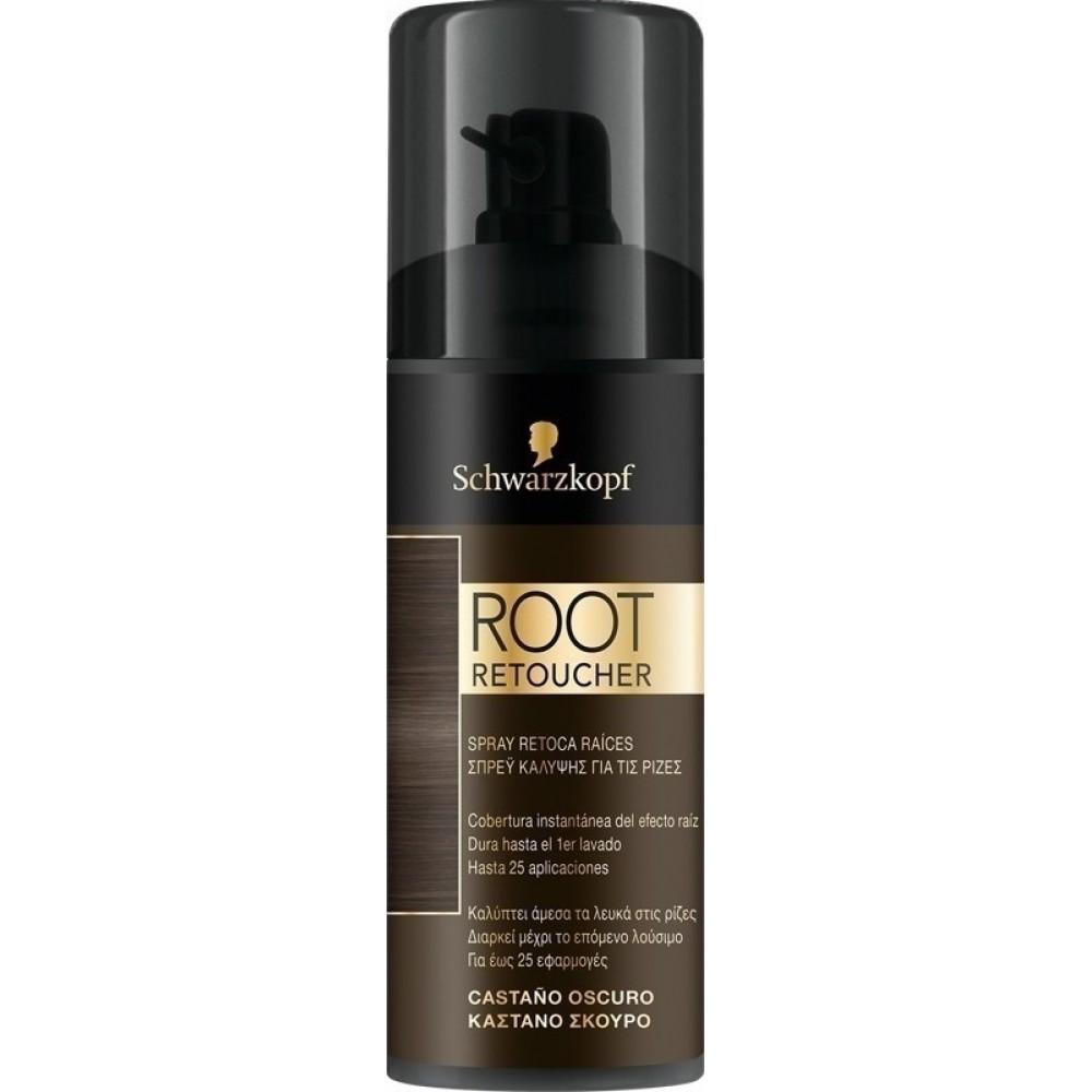 Schwarzkopf Root Retoucher Spray Κάλυψης Ρίζας Καστανό Σκούρο 120ml